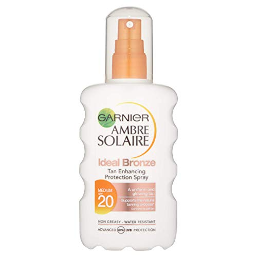 Ambre Solaire Ideal Bronze Tan Enhancing Sun Cream Protection Spray SPF20, Hydrating High Tanning Sun Protection Spray SPF20 200 ml