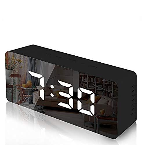 WEQQ Reloj Despertador Digital LED con Pantalla de Temperatura y Espejo con Brillo Ajustable (Negro)