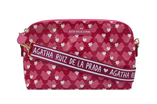 Agatha Ruiz de la Prada Bandolera Bolso mujer grande plastificada estampada con besos rosas