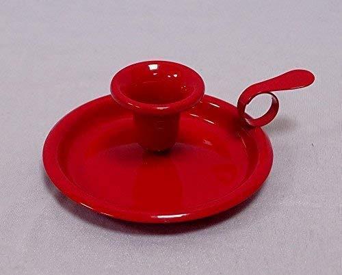 linoows Antiker Kerzenleuchter, Nachtleuchter, Kerzenhalter, Teller Leuchter Rot