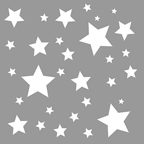 30 Stück weiße Sterne Aufkleber, Fensterdekoration zu Weihnachten Fensterbild/Fensteraufkleber, Wandtattoo