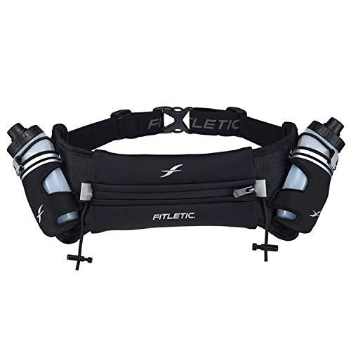 Fitletic Hydra 16 Trail Hydration Belt – Small/Medium, Black   Patented No Bounce Technology for Marathon, Triathlon, Ironman, Trail, 5K, 10K   Running Belt   Race Belt   HD08-C1S