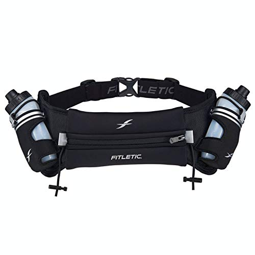 Fitletic Hydra 16 Hydration Belt – Extra Large, Black | Patented No Bounce Technology for Marathon, Triathlon, Ironman, Trail, 5K, 10K | Race Belt | Running Belt | HD08-C1L