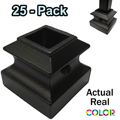 Flat Iron Baluster Shoes (25-Pack) with Set Screw Stair Parts for 1/2' Square Metal Scroll Basket Twist Knuckle Balusters (Real Satin Black not Matte)