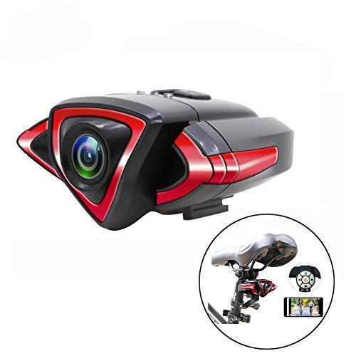 Multifunktionsfahrrad-Kamera, wasserdicht WiFi vordere und hintere Fahrrad-Videokamera mit Handy-Halter, LED-Blinker und Warnleuchten, Tachometer, GPS,Rear