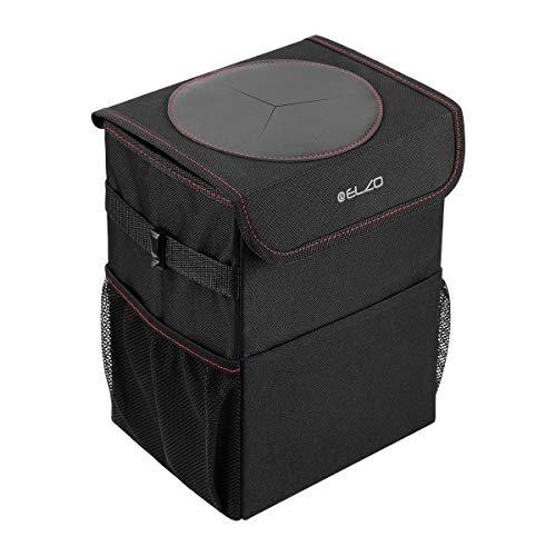 ELZO Cubo de Basura para el Coche con Tapa 3 Bolsillos de Almacenamiento Impermeable de Tela Oxford Plegable Contenedor de Basura Automóvil Negro para Viajes y Camping (Negro)