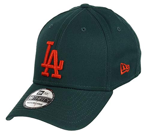 New Era Los Angeles Dodgers 39thirty Stretch cap League Essential Dark Green/Orange - M/L
