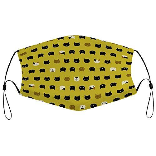 Dkisee Fashion Unisex Staubmaske mit Filterelement, verstellbare Ohrschlaufen, Gesichtsmaske, Outdoor-Schutzmaske Katzengesichter Senf