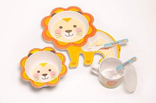 Set vajilla Infantil de bambú sin BPA. Incluye 5 piezas : Cubertería...