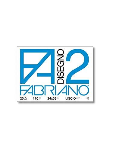 Fabriano F2 06200516, Album da Disegno, Formato 24 x 33 cm, Fogli Lisci, Grammatura 110gr/m2, 20 Fogli
