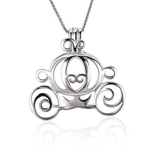 MZNSQB 3 Piezas Plata 925 romántico Calabaza Carro Perla medallón para Collar Mujer 925 Plata esterlina Carro Jaula Colgante