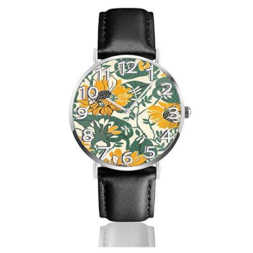 Reloj de Pulsera Hoja Verde Girasol Durable PU Correa de Cuero Relojes de Negocios de Cuarzo Reloj de Pulsera Informal Unisex