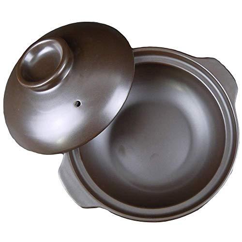 Round ceramic saucepan heat resistant clay pot clay pot soup pot with lid and handle. Pot for slow cooking. Hot Pot Black B 0.63quart
