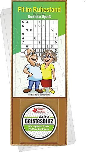 AV Andrea Verlag Fit im Ruhestand der besondere Sudoku Rätzel Spaß Geschenke Set Box mit Pfefferminz Bonbons extra Geistesblitz Rentner Power Senioren Freizeit Oma Opa