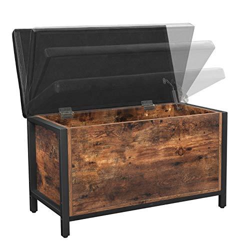 VASAGLE Sitzbank mit Stauraum, gepolsterte Truhe, 80 x 40 x 50 cm, Betttruhe, Flur, Schlafzimmer, Wohnzimmer, Metall, einfacher Aufbau, Industrie-Design, Kunstleder, vintagebraun-schwarz LSC80BX - 6