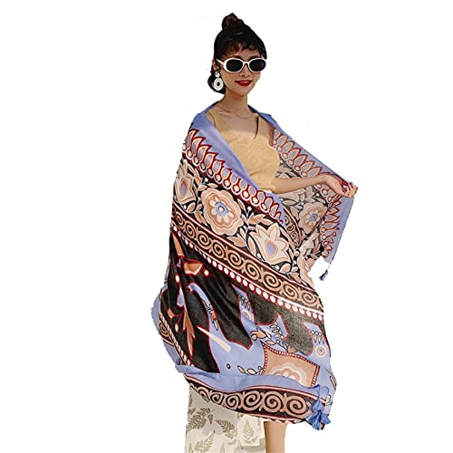 Vcnhln Bufanda de Seda Mujer Gota de Agua Flor Gran mantón Bufanda de Viaje Protector Solar Toalla de Playa Estilo étnico algodón y Lino Sombra de Sol de Verano