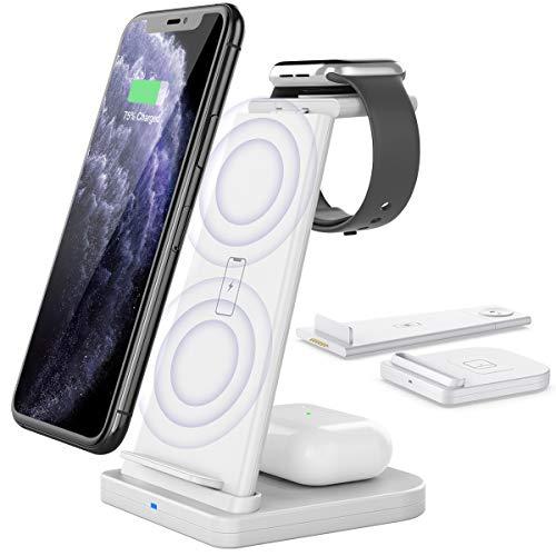 Yaature Kabelloses Ladegerät [Abnehmbar], 3 in 1 Qi Fast Wireless Charger für Apple Watch 6/5/4/3/2 & AirPods Pro/2, Induktive Ladestation für iPhone 11/11 Pro/X/XS/XR/8/8 Plus, Samsung und Mehr