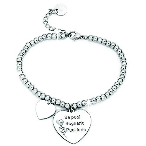 Beloved Bracciale da donna, braccialetto in acciaio emozionale - frasi, pensieri, parole con charms - ciondolo pendente - misura regolabile - incisione - argento (MOD 16)