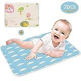 DAMIGRAM 2 Stück Wasserdicht Waschbar Wickelunterlage für Babys und Kleinkinder - Atmungsaktiv, Wiederverwendbare Urin Matte Abdeckung fürs Jungen Mädchen (50 * 70cm)