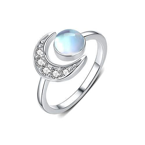 Mondstein Ring 925 Sterling Silber Ringe Mond Regenbogen Mondstein Verstellbare Offener Ring für Damen/Frauen/Mädchen