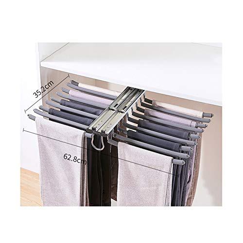 XYL Hosenauszug Kleiderschrank Kleiderbügel, Push-Pull-Kleiderständer für 18 Hosen, Zweireihige ausziehbare Kleiderbügelhalterung für Garderobenaufbewahrungszubehör