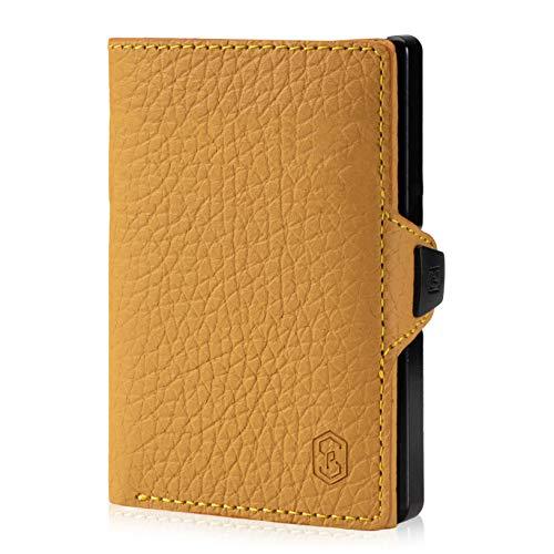 ZNAP Geldbörse Herren klein - Slim Wallet Karten Portemonnaie Herren - Kreditkartenetui aus Aluminium mit Münzfach und RFID Schutz - Leder Senfgelb genarbt - 4-8 Karten - Mini Wallet von Slimpuro