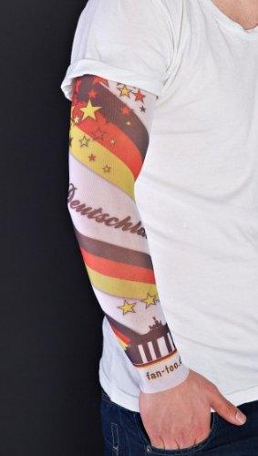 fan-too Überziehstrumpf Tattoo Deutschland-Skyline Weiss - Fanartikel Fußball Weltmeisterschaft D-Fahne, Olympische Sommerspiele, Leichtathletik, WM, Olympia, Handball, Olympiade