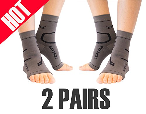 Thirty48 Plantar Fasciitis Socks, 20-30 mmHg Foot Compression Sleeves for Ankle/Heel Support, Increase Blood Circulation, Relieve Arch Pain, Reduce Foot Swelling (Grey & Grey (2 Pairs), Large)