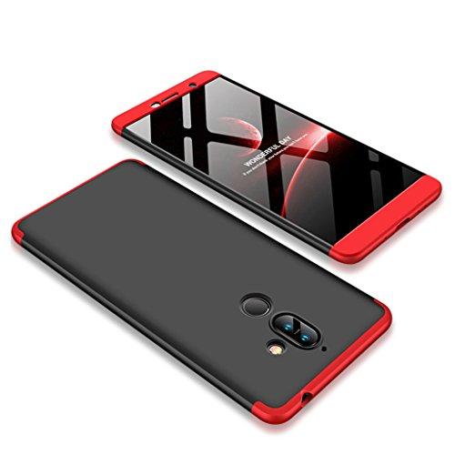 FaLiAng Funda Nokia 7 Plus, Ultra Fina 3 en 1 Desmontable Anti-Arañazos Hard PC Carcasa 360° Full-Cover Anti-Choque Protective Funda para Nokia 7 Plus (Negro,Rojo)