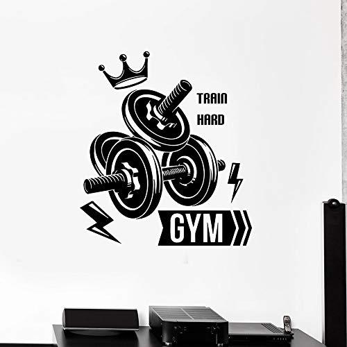 SUPWALS Pegatinas de pared Fitness Club Tatuajes De Pared Deporte Gimnasio Pesas Culturismo Tren Duro Decoración Interior Vinilo Puerta Ventana Etiqueta Arte Mural 30X34Cm