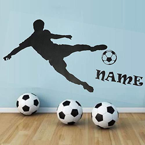 Tianpengyuanshuai Personalisierter Name Fußballspieler Silhouette spielt Wandaufkleber benutzerdefinierte 50X114cm