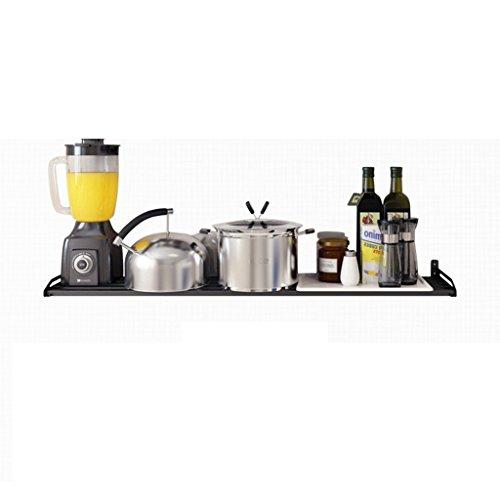 Cuisine Boîte De Rangement Murale/Pot Bottom Frame/Présentoir / Vaisselle Rack/avec 5 Crochets - Noir - Chrome (Taille : 60 cm)