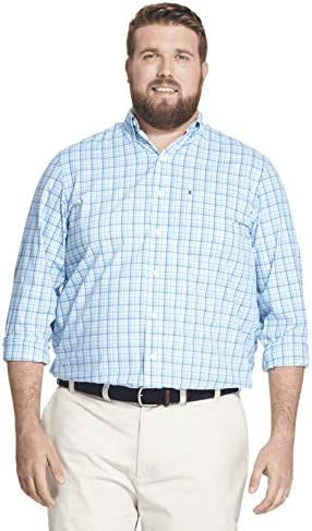 IZOD mens Big and Tall Long Sleeve Performance Plaid Discontinued Button Down Shirt True Blue product image