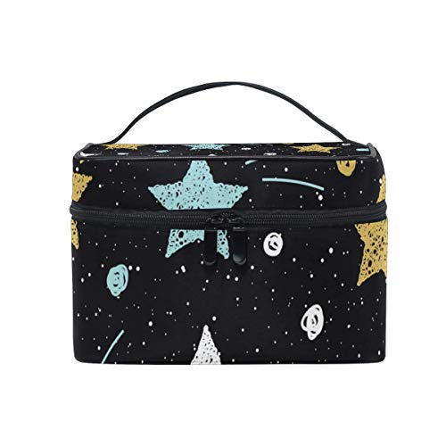 Doodle Stars Pattern Cosmetic Bag Toiletry Travel Makeup Case Handle Pouch Multi-Function Organizer for Women