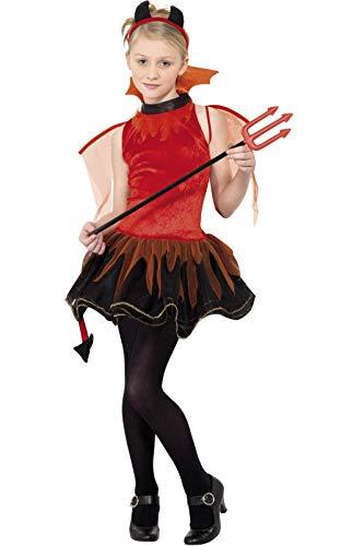 Smiffys Déguisement Adolescent, Diable, avec robe, queue, col, ailes & cornes , Âge 12+, Couleur: Rouge, 32077