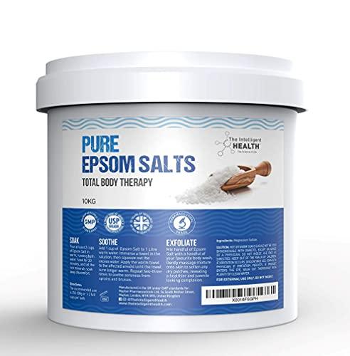 The Intelligent Health Seau de 10kg de sel de bain d'Epsom pur au sulfate de magnésium, idéal pour soulager les douleurs musculaires et réduire les inflammations