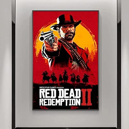 JLFDHR Stampa su tela 60 x 80 cm, senza cornice HD Print Red Dead Redemption 2, poster artistico da parete per la casa