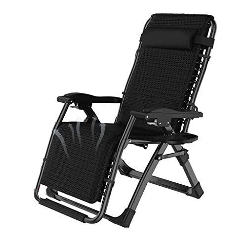CYLQ Sports Infinity Zero Gravity Chair,Sillas De Salón De Patio Ajustables, con Portavasos para Jardín Piscina De Playa Silla Inclinada para Exteriores, Negro, 65 * 98 * 15cm (Color : Negro)