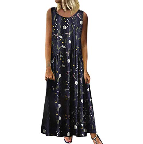 Lialbert Blumenmuster Dame Rundhals Strandkleid Strap Dress Elegant Camisole-Kleid Freizeitkleid Maxikleider A-Linie T-Shirt-Kleid ÄRmellos Swing-Kleid Rock Kleider Tunika (46, Marine)