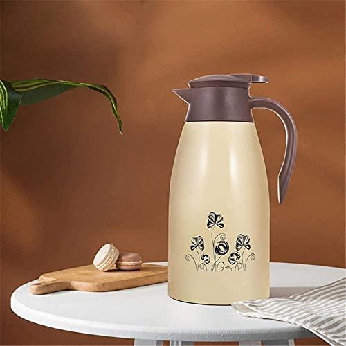 MXCHEN - Jarra de café térmica para muebles, hervidor de agua fría y caliente de gran capacidad, café y té caliente, 12 horas (Color: Beige, Tamaño: 2L)