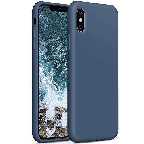 YATWIN Compatibile con Cover iPhone XS Max, Custodia per iPhone XS Max Silicone Liquido, Protezione Completa del Corpo con Fodera in Microfibra, Compatibile con iPhone XS Max 6,5'', Blu Notte