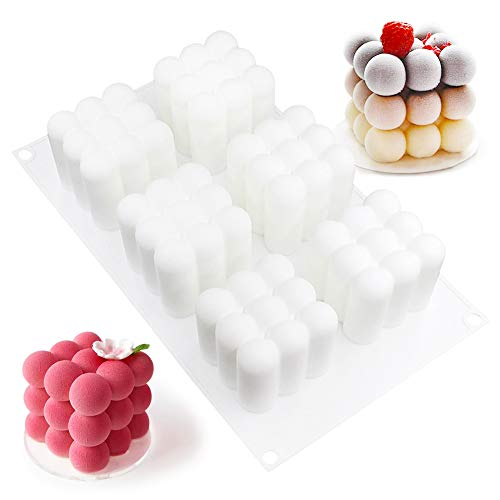 6 Cavity Silicone Cake Mould,3D Cube Bubble Soy Silicone Candle Soap Making Moulds,Biscuits Baking Mold,Jelly, Mousse, Chocolate, Candy, Ice Cube, Cheesecake, Muffin, DIY Handmade Soap Moulds Tray