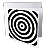 3dRose Greeting Cards, 6 x 6 Inches, Pack of 6, Black and White Bulls Eye Pattern (gc_26099_1)