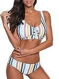 Yanekop Womens Two Piece High Waisted Swimsuits Push Up Halter Bikini Striped Padded Bathing Suits(Rainbow,M)