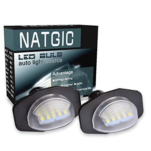 NATGIC 1 Paire 18SMD LED Plaque d'immatriculation Lumière Intégrée Can-Bus étanche Plaque d'immatriculation Lumière LED Numéro Plaque d'immatriculation Lampe Assemblée 12V 2W - 6000K Blanc