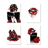 Facioro Fashion Woman Canvas Wall Art, Red Wall Decor for Bedroom Decor, Red and Black Art Posters, Red Lips Red Rose Perfume High Heels and A Fashion Women with Red Hair Ribbons Prints Wall Pictures, Girls Room Decor, Black and Red Fashion Poster