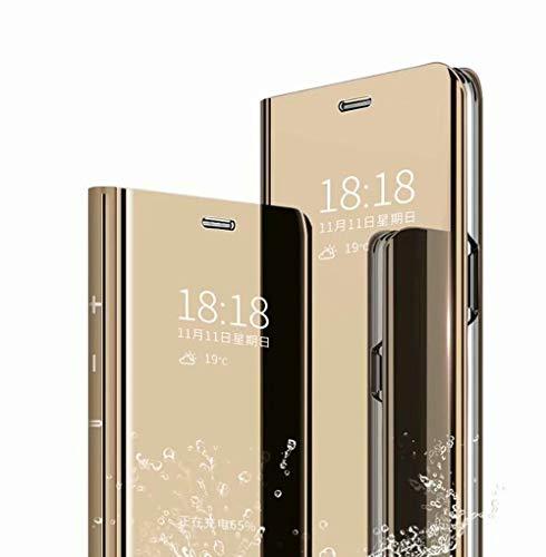 TingYR Hülle für LG Velvet 5G UW Schutzhülle, Plating Spiegel Tasche Cover Smart Handyhülle Schutzhülle Flip Lederhülle Etui, Handyhülle Hülle für LG Velvet 5G UW.(Gold)