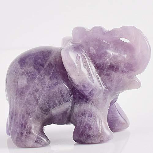 LEER Estatua de elefante de 5 cm para tallar piedra natural amatista, elefante, mini estatua de animal para decoración del hogar