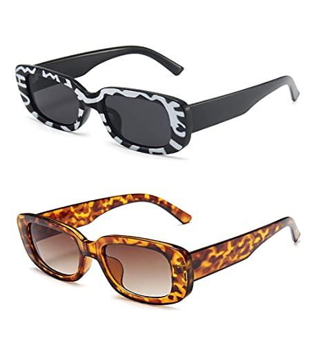 2 Pcs Årgång Rektangel Solglasögon - Uv-skydd Mode Fyrkantig Glasögon Retro Glasögon För Kvinnor besbomig