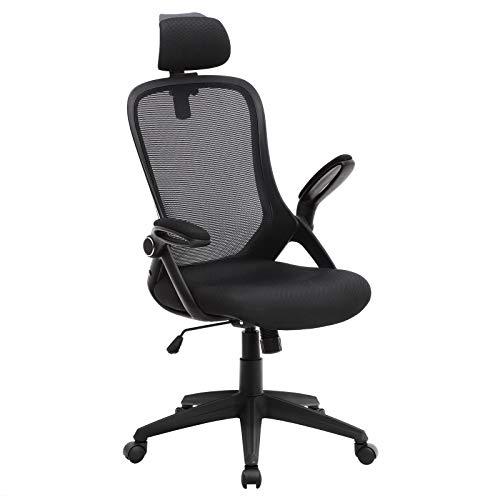 Songmics OBN51BK Bureaustoel, ergonomische bureaustoel, instelbare draaistoel, computerstoel, inklapbare armleuning en verstelbare hoofdsteun, 360 graden draaibaar en hoogteverstelling, zwart